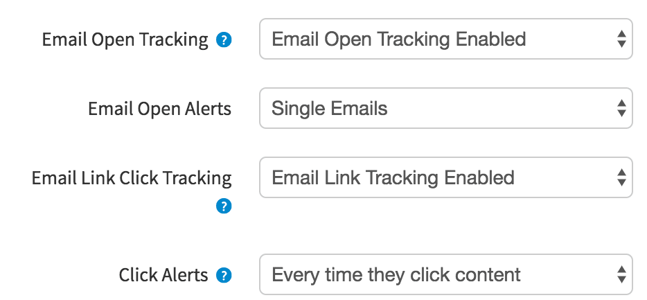 Toggle Email Open and Link Click Tracking