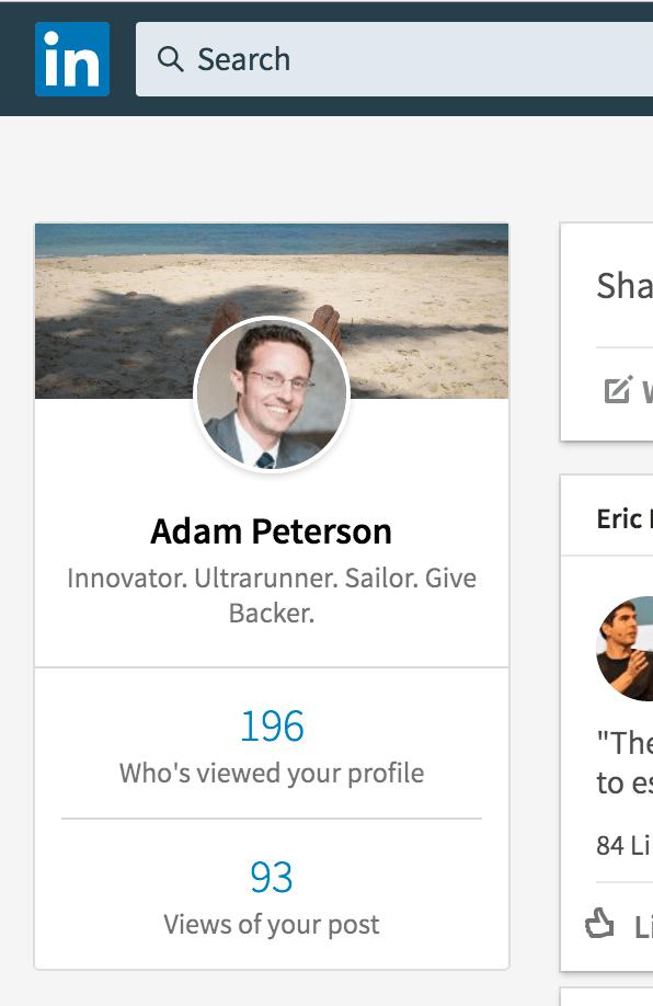 LinkedIn Home Screen Shot