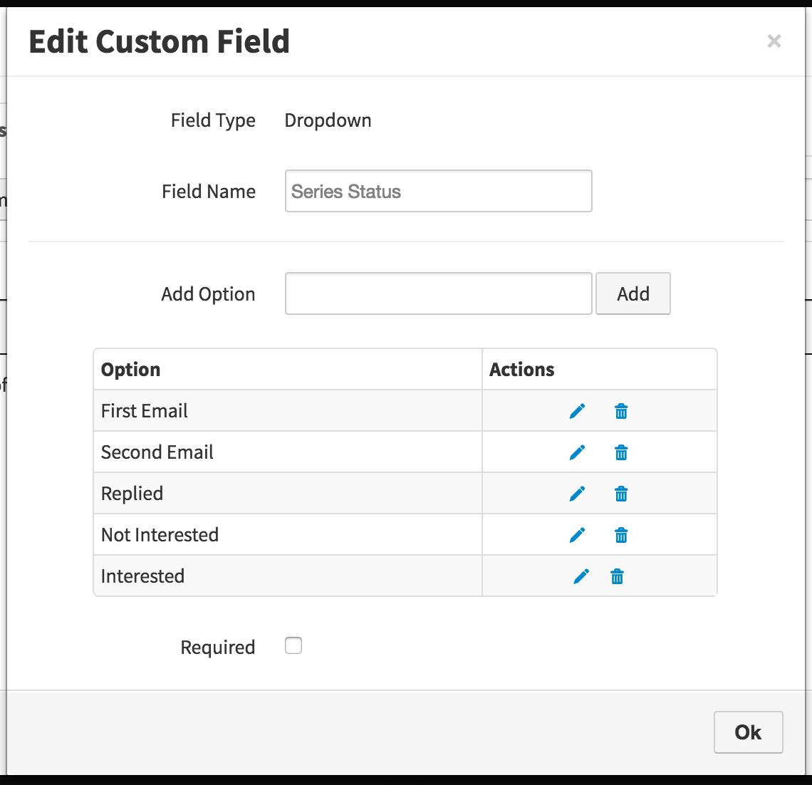 VipeCloud Series Status Custom Field