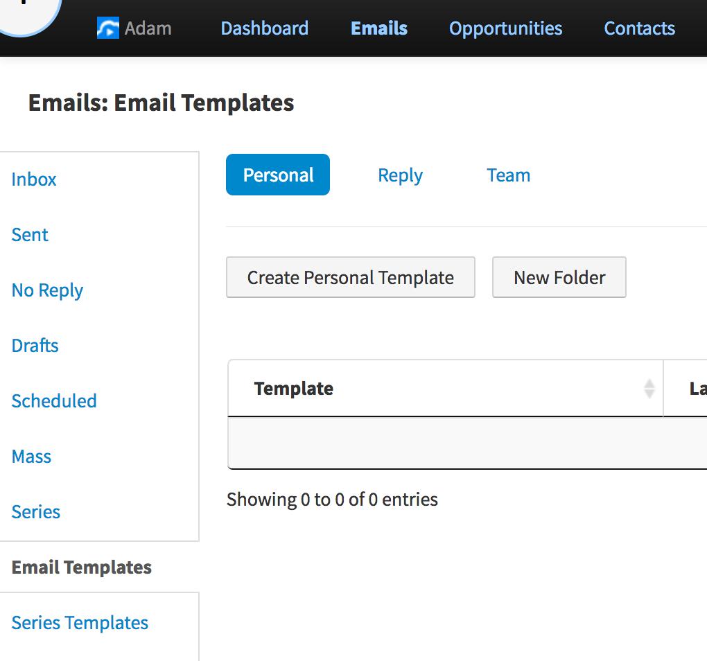 VipeCloud Emails Tab Screenshot