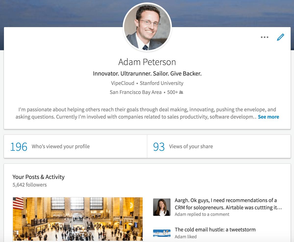 LinkedIn Profile Screenshot