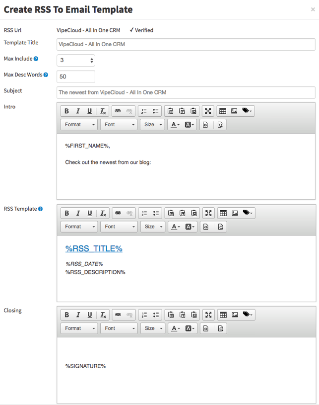 VipeCloud RSS To Email Template